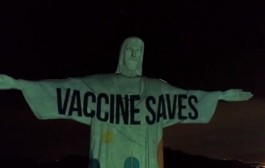 Brazil's Famous 100′ Statue of 'Christ the Redeemer' Desecrated with Vaccine Advertisement